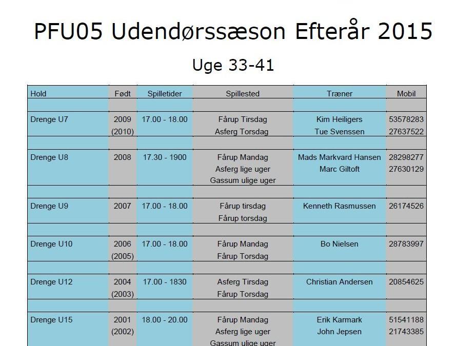 Fodbold PFU05, træningstider i efteråret 2015 er nu klar